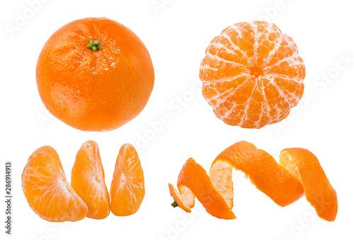 Fresh peeled mandarin orange isolated on white background with clipping path - 286914913
