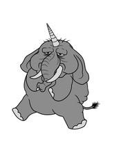 Einhorn Horn Elefant Fabelwesen Dick Fett Groß Diät Schwer Riesig Dickhäuter Comic Cartoon Lustig Cool Clipart Sitzend übergewicht