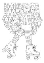 JPEG Hand Drawn Legs Of A Young Girl In A Long Skirt With Floral Print Skates In Retro Roller Skates. Old School Style 70s. Ornamental Coloring Page For Adults. Design Card, Print T-shirts, Textile