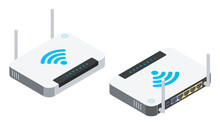 Isometric Wi-fi Router With Two Antennas Isolated On White Background. High Speed Network Technology. 3D Vector Illustration