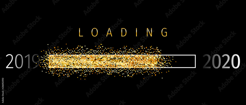 Fototapeta Loading 2020 (Ladebalken 2020)- Loading Bar 2020. Loading 2020 New Year - New Year Countdown 2020 Vector. New Year 2020 Greetings Loading.
