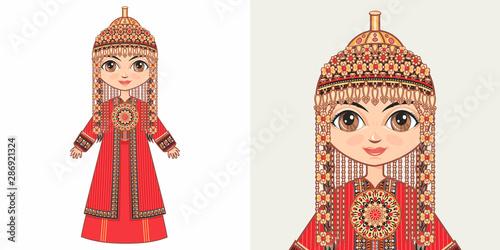 Turkmen girl in national costume Canvas Print
