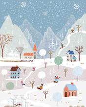 Illustrator Winter Landscape,Vector Of Horizontal Banner Of Winter Wonderland At Countryside With Snow Covering, Happy With Kids Sledding In The Winter Park And Couple With Skiing On The Moutain