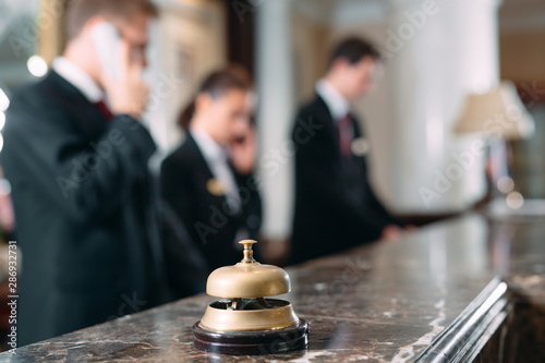 Fotografía Hotel service bell Concept hotel, travel, room,Modern luxury hotel reception counter desk on background