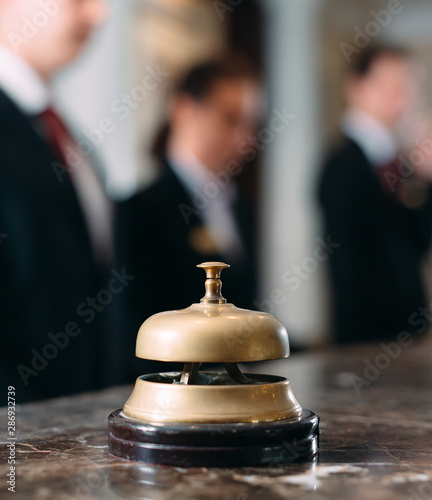 Canvas Print Hotel service bell Concept hotel, travel, room,Modern luxury hotel reception counter desk on background