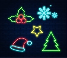 Neon Christmas Decoration Set. Star, Tree,snow, Santa Cap, Christmas Flowers