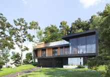 Modern House In Forest, 3d Ren...