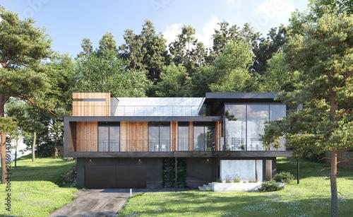 Obraz Modern house in forest, 3d render - fototapety do salonu