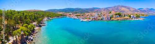 Foto auf Gartenposter Blau Jeans Scenic aerial view of Galaxidi village with colorful buildings, Greece