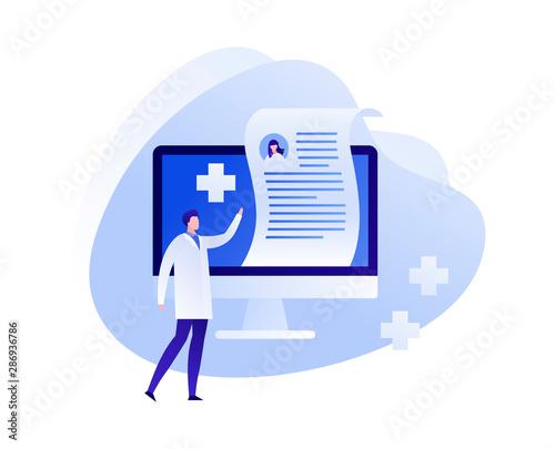 Vector flat online medicine illustration Fototapeta