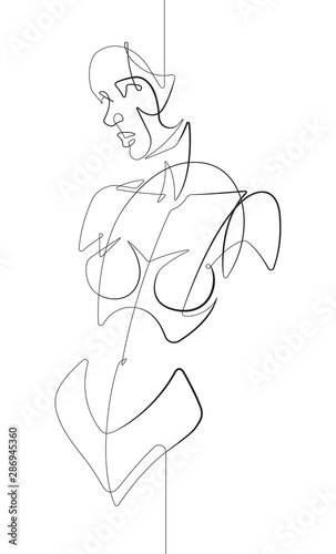 Female Figure Facing Forward One Continuous Line Cartoon Vector Graphic Illustration