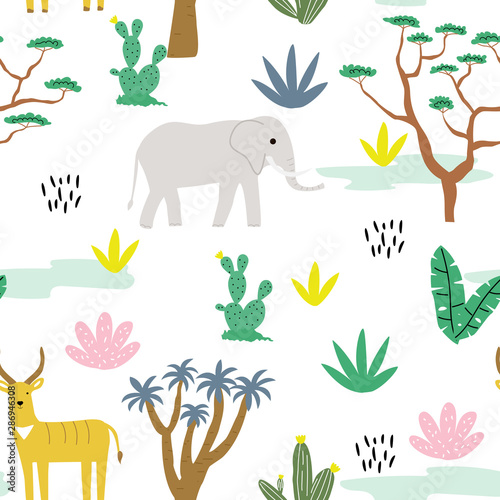 Seamless pattern with animals africa, antelope, elephant and tropical landscape. Creative cute children's texture. Great for fabric, textile, walpaper. Vector Illustration.