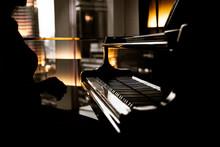 Elegant Woman Playing On Piano...