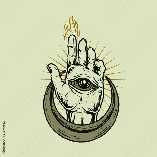 Fotografie, Obraz hand with eye and burned finger