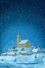 Romantic Digital Painting Of Snowy Winter Christmas Landscape. Village With Small Church On The Hill And Falling Snow Flakes. Blue Vertical Image.