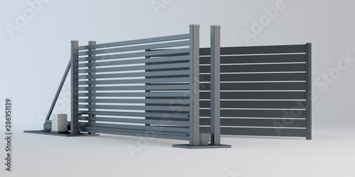 Fototapeta Sliding gate and fence panel, 3D illustration
