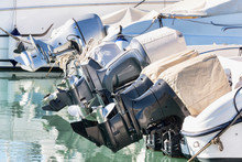 A Row Of Outboard Nautical Eng...