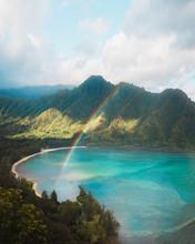 Hawaii Hike With Rainbow And Mountains