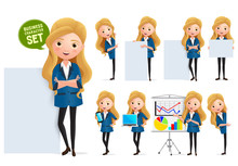 Business Woman In Whiteboard Presentation Vector Character Set. Businesswoman Characters In Presentation Standing And Showing Sales Graph In Whiteboard Isolated In White Background.