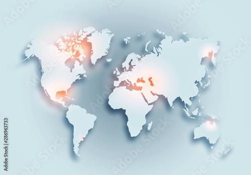 World digital outlined map background Wallpaper Mural
