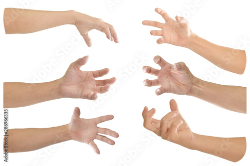 Fotografía  Collection of hand with finger bent isolated on white background