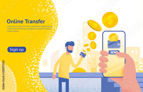 Fényképezés Online transfer concept with hand holding smartphone and press send button,
