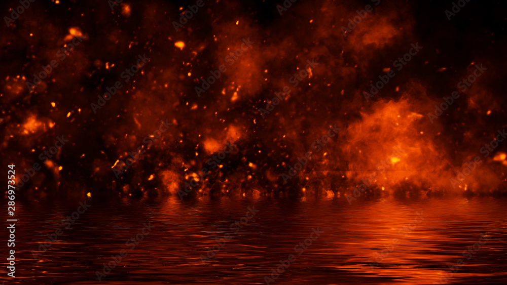 Fototapeta Texture of fire with reflection in water. Flames on isolated black background. Design element.