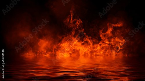 Realistic isolated fire effect for decoration and covering on black background Tableau sur Toile