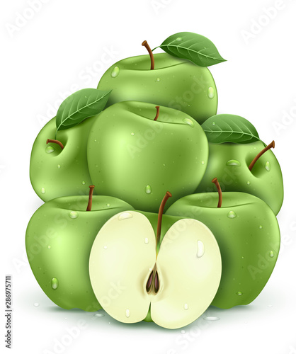 Green  Wet Fresh Apples with Water Drops 3D Realistic Stacked in White Isolated Background Poster. Vector Illustration