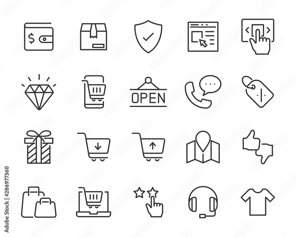 Fototapeta set of shopping icons, shopping online, e-commerce, buy, store, cart, pay