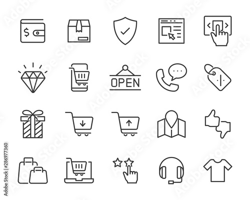 Fotomural  set of shopping icons, shopping online, e-commerce, buy, store, cart, pay