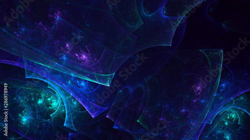 Fotobehang Fractal waves 3D rendering multicolored abstract fractal on black background