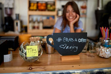 Tips Jar And Grab Sign For Cof...