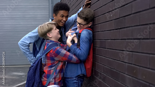 Small schoolboy bullying taller student to assert power, self-affirmation Canvas Print