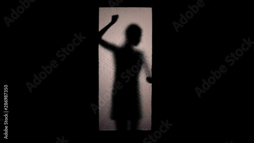 Scared woman shadow knocking glass door with fists, checking handle, escape Canvas Print
