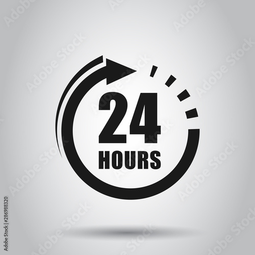 Fényképezés  24 hours clock sign icon in flat style