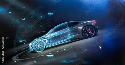 Futuristic car technology concept with wireframe intersection (3D illustration) - 286990381