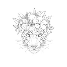 Cheetah With Floral Wreath Hand Drawn Sketch. Wild Feline Animal Face With Exotic Flowers On Head Black Ink Illustration. Spotted Panther Portrait Engraving. Coloring Book, Postcard Design Element