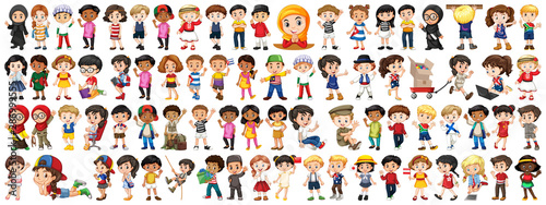 Children with different nationalities on white background - 286999555