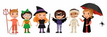 Boys And Girls In Scary Monsters Costumes Flat Vector Characters Set. Children In Devil, Pumpkin, Witch, Bat,  Mummy And Vampire Outfits Cartoon Illustrations. Halloween Party Stickers Pack