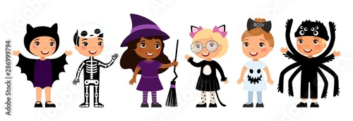 Valokuvatapetti Boys and girls in scary monsters costumes flat vector characters set