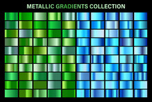 Green, Blue Glossy Gradient, Metal Foil Texture. Color Swatch Set. Collection Of High Quality Vector Gradients. Shiny Metallic Background. Design Element.