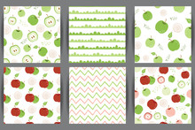 Green Apple Seamless Pattern Set Red Apple Repeating Background With Hand Drawn Apples White Vector