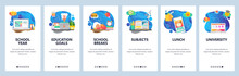 Mobile App Onboarding Screens. School Education, Time To Sleep, Class Schedule, Learning Student, Order Food Online. Vector Banner Template For Website And Mobile Development. Web Site Illustration
