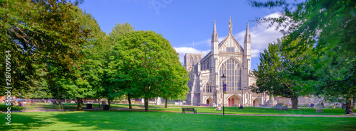 Fototapeta Autumn afternoon light on the West Front of Winchester Cathedral, UK obraz