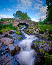 Ashness Bridge Near Watendlath With Streams From Heavy August Rains, Lake District National Park