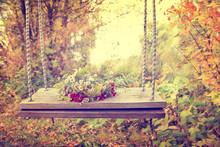Wreath Of Autumn Flowers On A ...