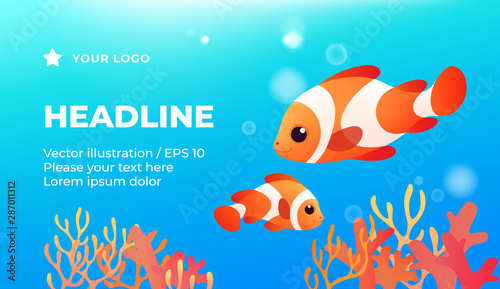 Canvas Print Underwater banner with clown fish and corals