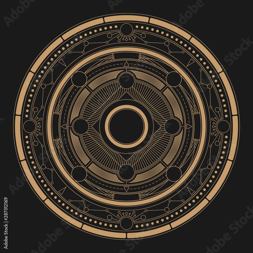 Abstract fantasy astrolabe round background Canvas Print