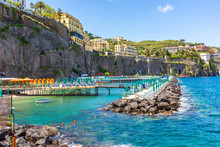 Italy, Sorrento, Equipped Coast For Bathing